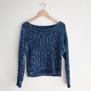 GAP Wide Neck Spaced Sweater Navy/White Size XS